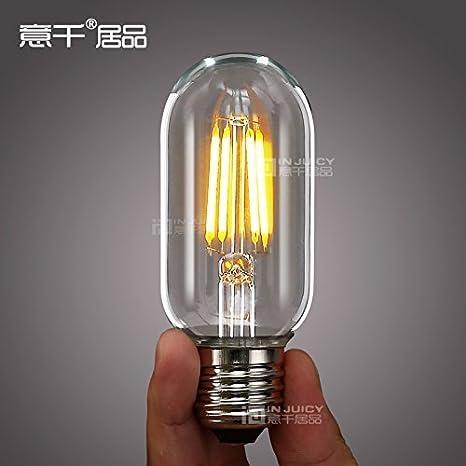 injuicy iluminación 4 W larga duración Industrial Vintage T45 bombilla Edison LED E27 360 grado blanco