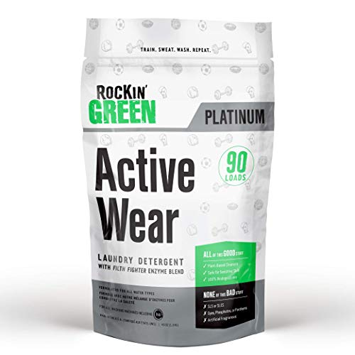 - Rockin' Green Platinum Series Active Wear Laundry Detergent Powder, 45 oz. - All Natural, Biodegradable, and Eco-Friendly