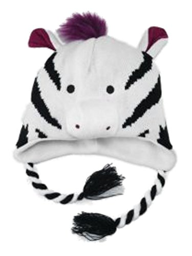 Aquarius Girls Black & White Striped Zebra Peruvian Critter Hat by Aquarius