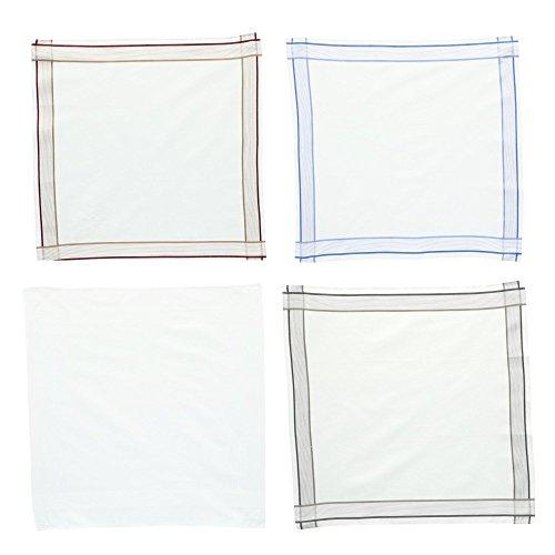 Umo Lorenzo Men's Basic Stripe Dress Handkerchief Set (Pack of 6), White by Umo Lorenzo (Image #3)