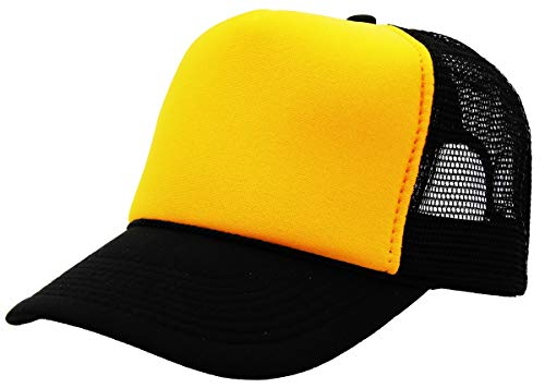 (Quality Merchandise QML Trucker Cap Mesh Hat with Solid, Two Tone Colors and Adjustable Snapback Strap and Small Braid (2 Tone, Gold/Black))