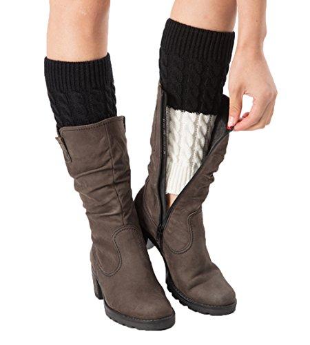 SherryDC Women's Crochet Knit Boot Topper Cuffs Patchwork