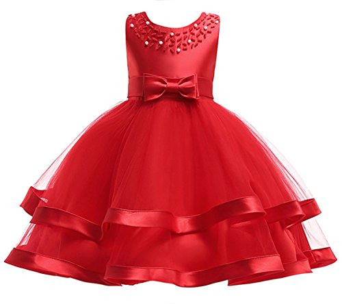 Jurebecia Girls Tulle Princess Gown Kids Wedding Pageant Party Banquet Dance Dress Red Size 6