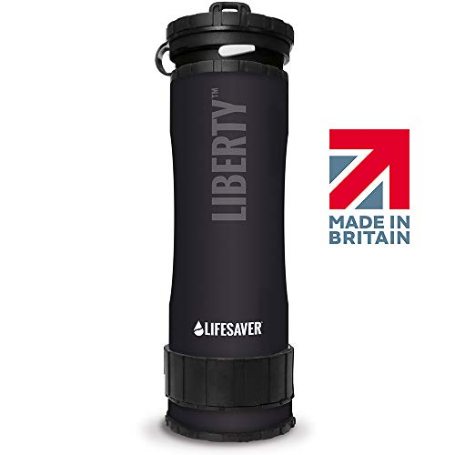 LIFESAVER Liberty Water Purifier Bottle - Dual Stage Purifier Water Bottle with Inline Pump - Perfect for Camping, Hiking, Emergency Preparedness and Survival Kits (Blue) (Black)