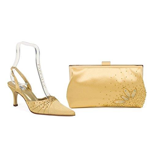 Farfalla lujo zapatos a juego y bolsa Dorado - dorado