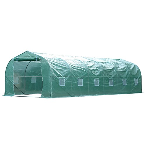 Outsunny 26′ x 10′ x 6.5′ Large Outdoor Heavy Duty Walk-in Greenhouse – Green