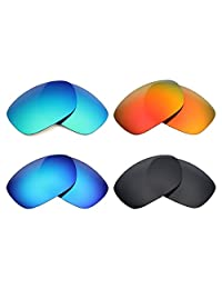Mryok 4 Pair Polarized Replacement Lenses for Oakley Ten X Sunglass - Stealth Black/Fire Red/Ice Blue/Emerald Green