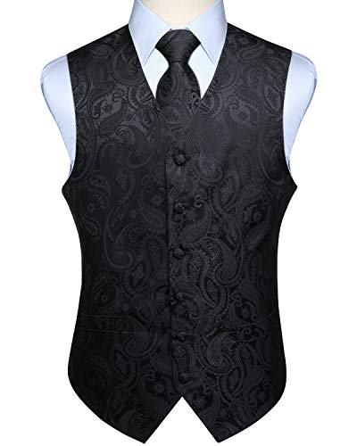(HISDERN Men's Paisley Floral Jacquard Waistcoat & Neck Tie and Pocket Square Vest Suit Set Black)