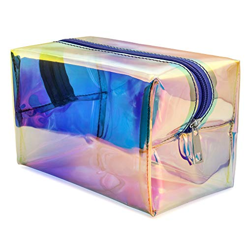 Cinderella Makeup For Halloween (Holographic Makeup Bag, Veckle Clear Cosmetic Bag Large Travel Iridescent Toiletry Pouch Clutch Purse Organizer Hologram Handbag Make-up Storage Cases for Women Girls)