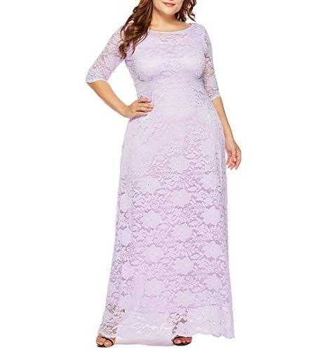 Eternatastic Womens Floral Lace 2/3 Sleeves Maxi Dress Evening Party Long Dress 5XL Purple