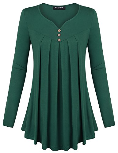 Rouched Front Top (Women Flowy Tops, Miagooo Women's Long Sleeve Scoop Neck Pleated Front A Line Solid Color Tunic Top Tshirt(Green,Medium))