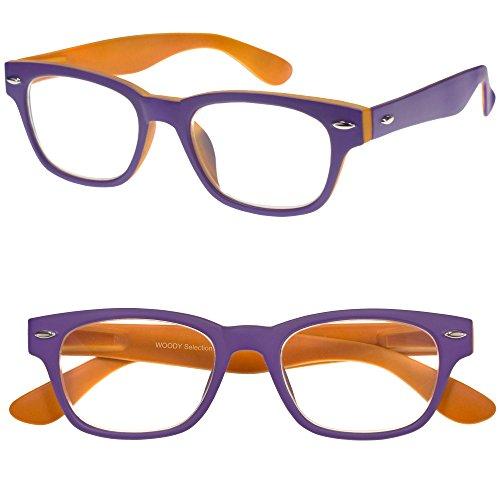 I NEED YOU Designer Woody Purple/Orange Reading Glasses Prescription Eyeglasses For Men & Women Spring Hinge & Plastic Eyeglasses Power Glass With Strength +3.0