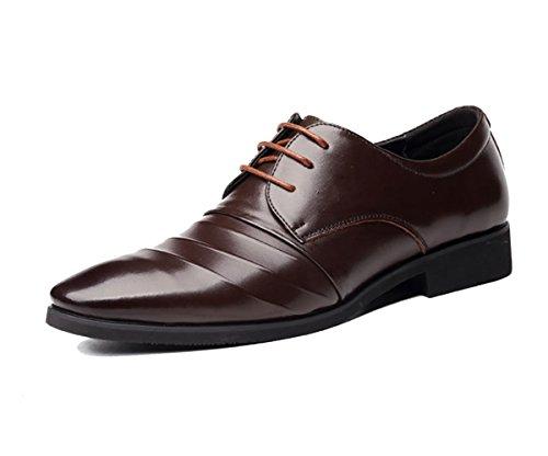 LYZGF Hommes Messieurs Affaires Casual Mode Lace Chaussures en Cuir Brown