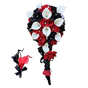 2pc Set:cascade Bouquet&matching Boutonniere-black,red,white-silk Roses,real Touch Calla Lily 101