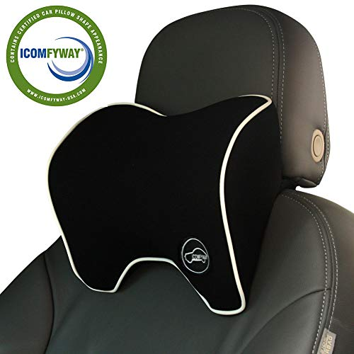 ICOMFYWAY Car Neck Support Pillow for Neck Pain Relief When Driving,Headrest Pillow for Car Seat with Soft Memory Foam - Black