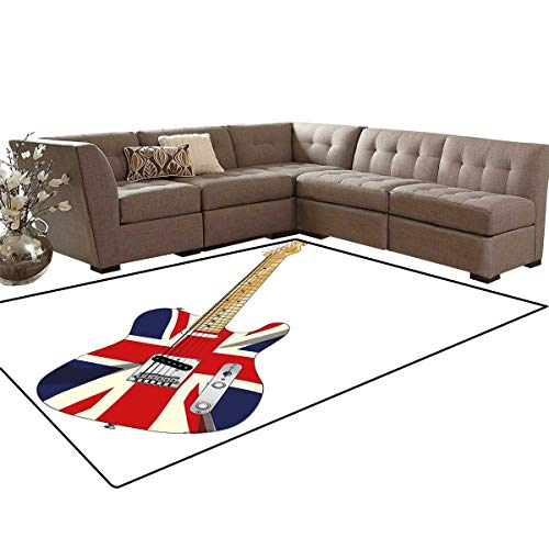 Union Jack Anti-Skid Area Rugs Classical Electric Guitar UK Flag Great Britain Music Instrument Customize Door mats for Home Mat 6'x8' Light Brown Silver Black