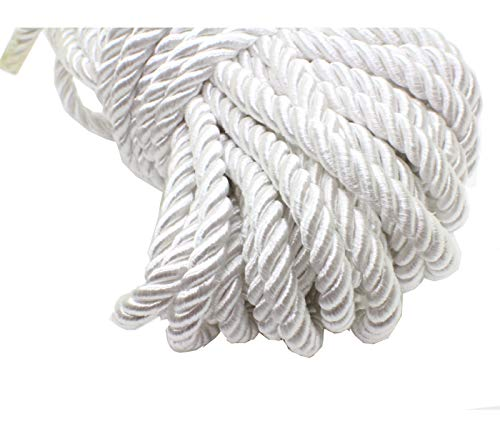 (U Pick 10yds 5mm Decorative Twisted Satin Polyester Twine Cord Rope String Thread Shiny Cord Choker Thread (18:White))