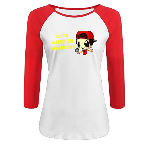 GOOOET Women's Cartoon Austin Mahone 3/4 Sleeve Cotton T Shirts Red XXL