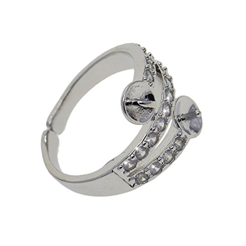 (1 Piece Ring Platinum Plated Rhinestone with 2 Blank Pearl Base Wedding Ring)