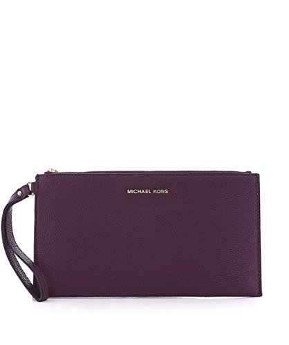 MICHAEL Michael Kors Women's Mercer Leather Clutch Bag Plum One Size - Plum Clutch
