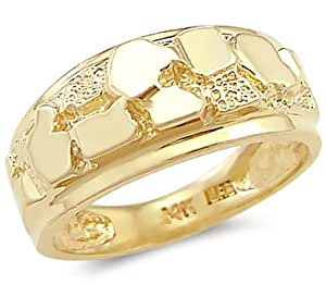 Amazon.com: 14k Solid Yellow Gold New Mens Ladies Nugget ...