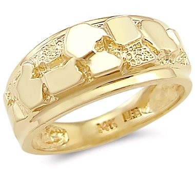 Size- 9.5-14k Solid Yellow Gold New Mens Ladies Nugget Ring Band (Yellow Gold Nugget Ring)