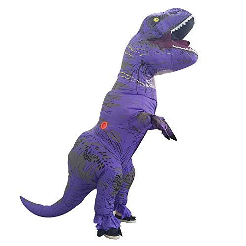 t-rex Dinosaur Inflatable Costumes Tyrannosaurus Christmas,Halloween Cosplay Clothes for Adults (Purple)