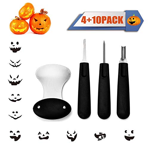 Stencils To Carve A Pumpkin For Halloween (Diravo Professional Kit-Includes 4 10 Stencils, Heavy Duty Stainless Steel Tool Set, Used As a Carving Knife for Pumpkin Halloween Decoration, one size,)