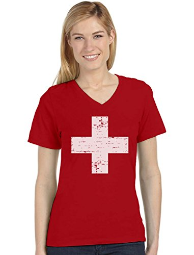 - Vintage Switzerland Flag Retro Style Swiss Women's Fitted V-Neck T-Shirt Large Red