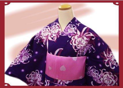 北米もっと少なく難しいブランド浴衣&帯セットJAM紫地乱菊