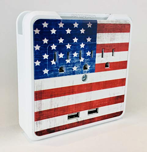 Glamsockets Decorative Wall Mount Surge Protector with 3 Outlets, Dual USB Charging Ports and Phone Holder - USB Charging Center/Multi Function Wall Tap (Vintage American Flag)
