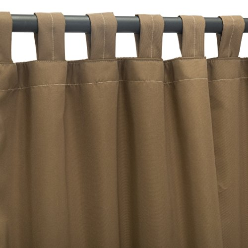 Sunbrella Outdoor Curtain Panel, Tab Top, 50 by 84 Inch, Canvas Cocoa (Available in Multiple Colors and Sizes) Includes Custom Storage Bag; Perfect For Your Patio, Porch, Gazebo, Pergola, and More