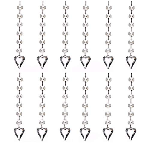 12pcs Acrylic Crystal Diamond with Connect Rings Beaded Curtains, Bead Strands Chain Tree Garland, Chandelier Hanging Drops, Wedding Party Celebration Décor, Ceiling Light Pendants (Pointed Heart)