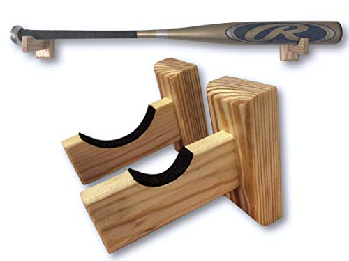 Baseball Bat Display Wall Mount | Black and Natural Finished Solid Pine Wood with Felt Liner and Hidden Screws | Easy to Hang On Wall Horizontally | Perfect for Display Or Storage (Natural)