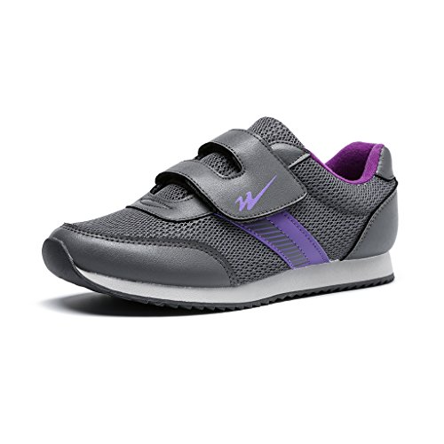 DOUBLESTAR MR Women's Strap Walking Shoe | Lightweight | Hook and Loop | Casual Footwear for Walking, Running, and Training | Breathable | Wide Width | Purple-grey 6.5 B(M) US