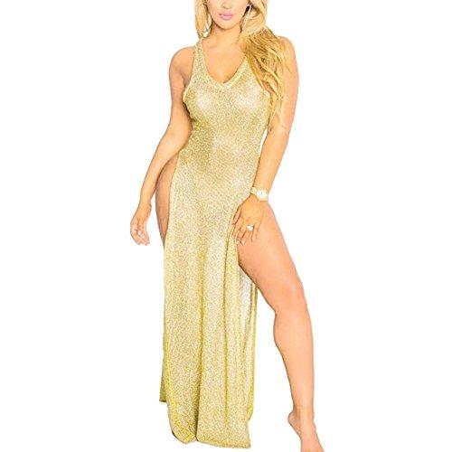 Power Girl Costume Plus Size (Women Summer Sleeveless Side Split Maxi Cover Up Dress Beachwear Gold L)