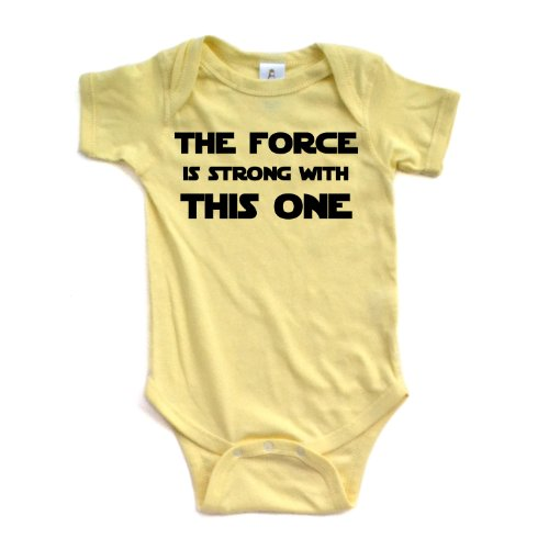 Cute Funny Nerd Geek Humor The Force is Strong With this One Soft Baby Bodysuit,Newborn,Yellow from Apericots