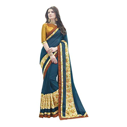Saree Royal White Georgette blue Choice Fashion Embroidered 77qwIF8