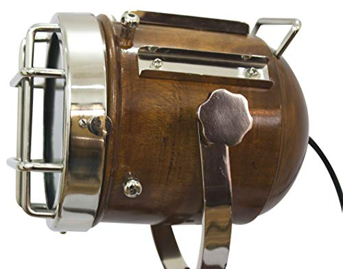 Vintage Searchlight Marine Nautical Look Spotlight Retro Brown Wooden Tripod Searchlight by Collectibles Buy (Image #2)