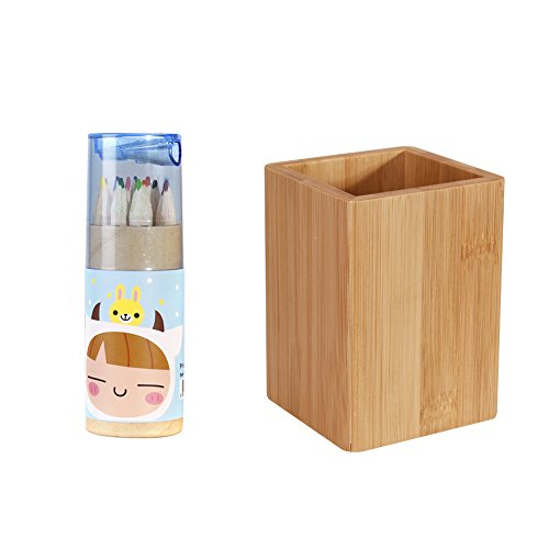 Top Bamboo Wood Desk Pen Pencil Holder Stand Multi Purpose Use Pencil Container Desk Organizer and 12 Pieces Colored Pencil for sale
