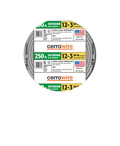 Cerrowire 138-1663G 250-Feet 12/3 UF with Ground Wire, (Gray Ground Cable Wire)