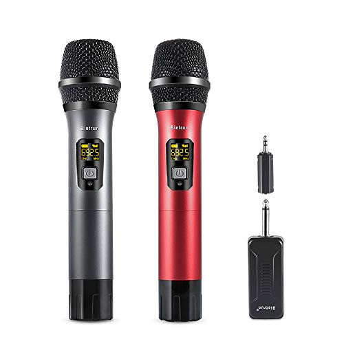 (Handheld Wireless Microphones & Systems | UHF 15 Channel Karaoke Wireless Microphone With Rechargeable Receiver| 200 ft(60M) Range, 6.35 and 3.5 mm Port, for Voice Amplifier, Speaker, PA System)