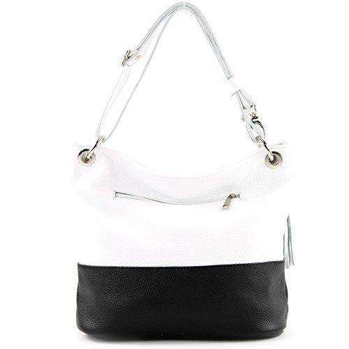 bolso del cuero de del del cuero bolso señoras de ital Schwarz hombro de bolso T143 bolso de modamoda de Weiß fpza0Wpn