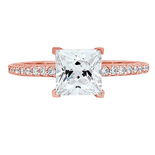 1.66ct Brilliant Princess Cut Accent Solitaire Engagement Wedding Bridal Promise Ring in Solid 14k Rose Gold for Women, 5.5 (Cut Accent Princess)
