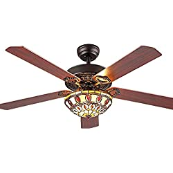 Andersonlight Fan Modern Ceiling Fan 5 Wood Blades With Tiffany Glass Shade, Quiet Handmade Fan Chandelier, Remote Control, Black Finish, 52-Inch