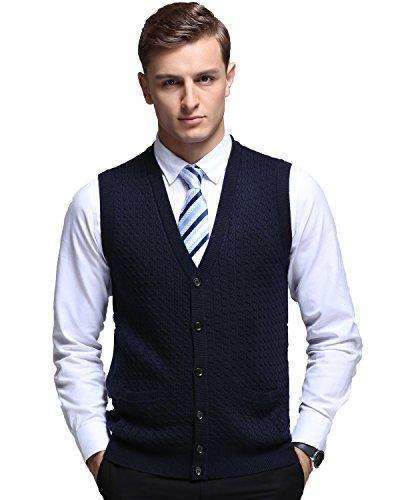Button Front Sweater Vest (Kinlonsair Mens Button-Front Cardigan Plain Sleeveless Sweater Vest Fine Knitwear, Navy Blue, Medium(US))