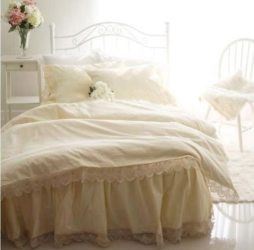 Swanlake Shabby and Victorian Light Yellow Wide Lace Cotton Duvet Cover Bedding Set