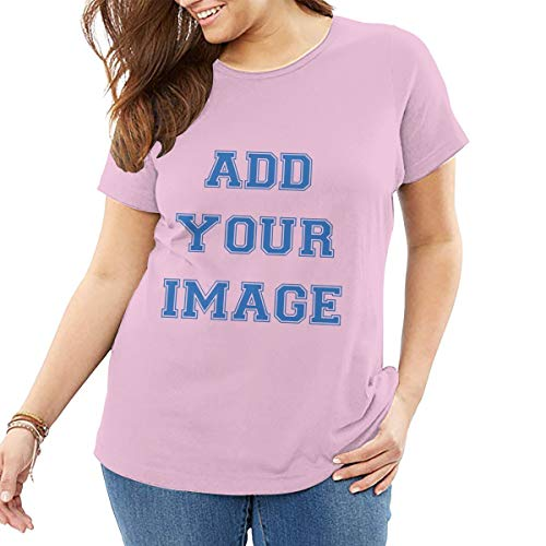 Custom Plus Size T-Shirts Ultra Soft Add Your Text or Image for Women Personalized Cotton Tee(Pink,4XL)]()