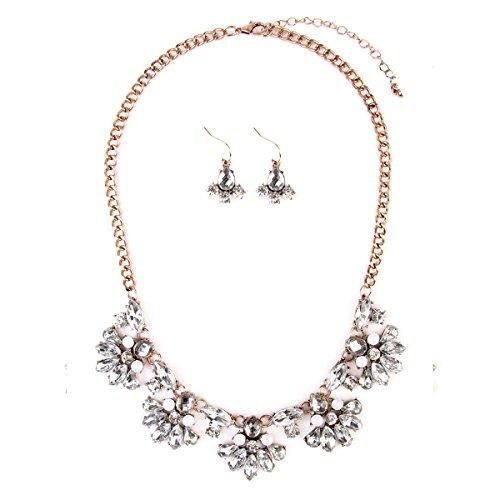 RIAH FASHION Sparkly Chunky Floral Statement Necklace - Flower Multi Acrylic Crystal Wedding Bridal Jewel Collar Bib & Drop Earrings Set (Silver) (Bib Drop Necklace)