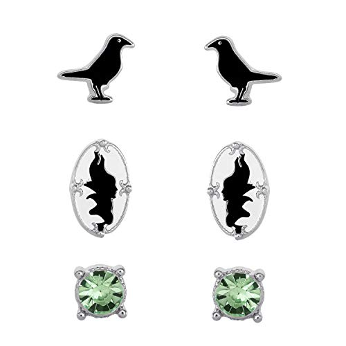 (Disney Villains Maleficent and Diablo Sleeping Beauty Fashion Stud Earrings)